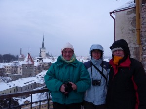 Looking at this picture on top of Toompea, I am surprised I didn't have my gloves on.  Liisi is in the middle between Jüri and I.